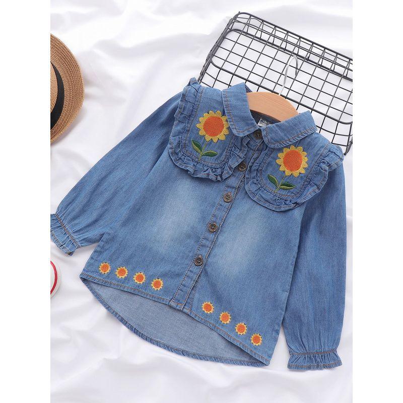 Baby Rex Cotton Girl Toddler Long Sleeve Ruffle Shirt Top Sunflower