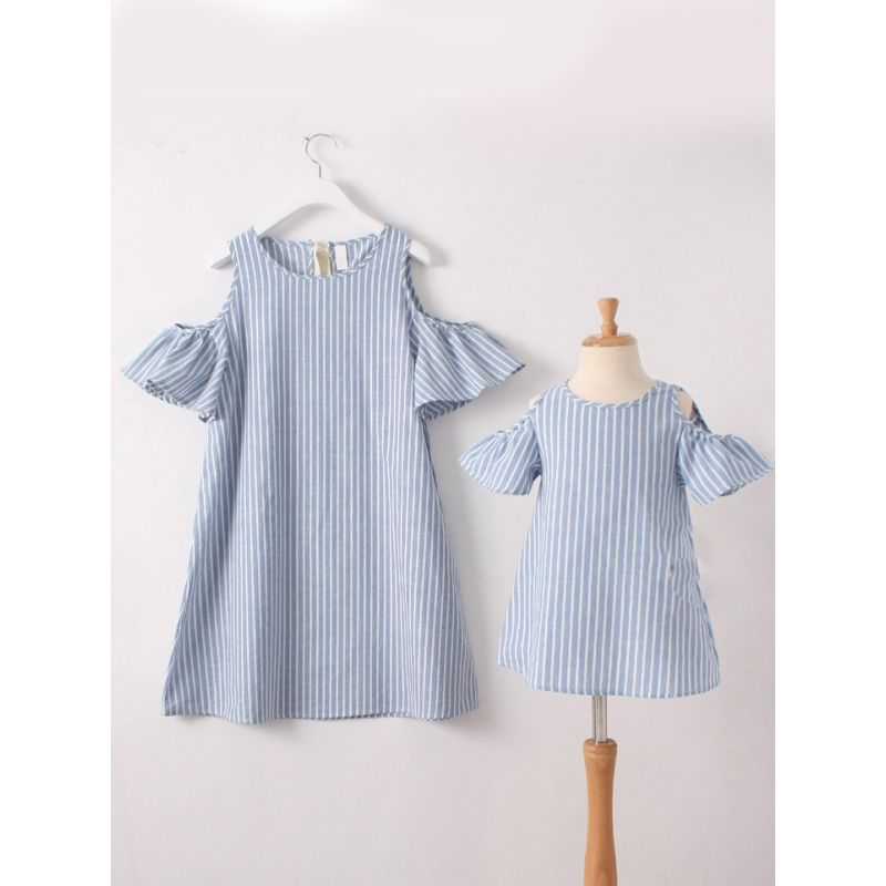 Mommy and Me Off-Shoulder Trumpet Sleeve Blue and White Striped Summer Dress