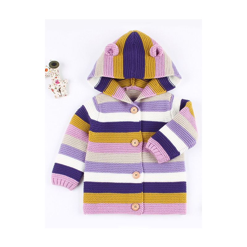 Animal Ear Pattern Color-blocking Hoodie Cardigan Baby Boys Girls Knitted Clothes