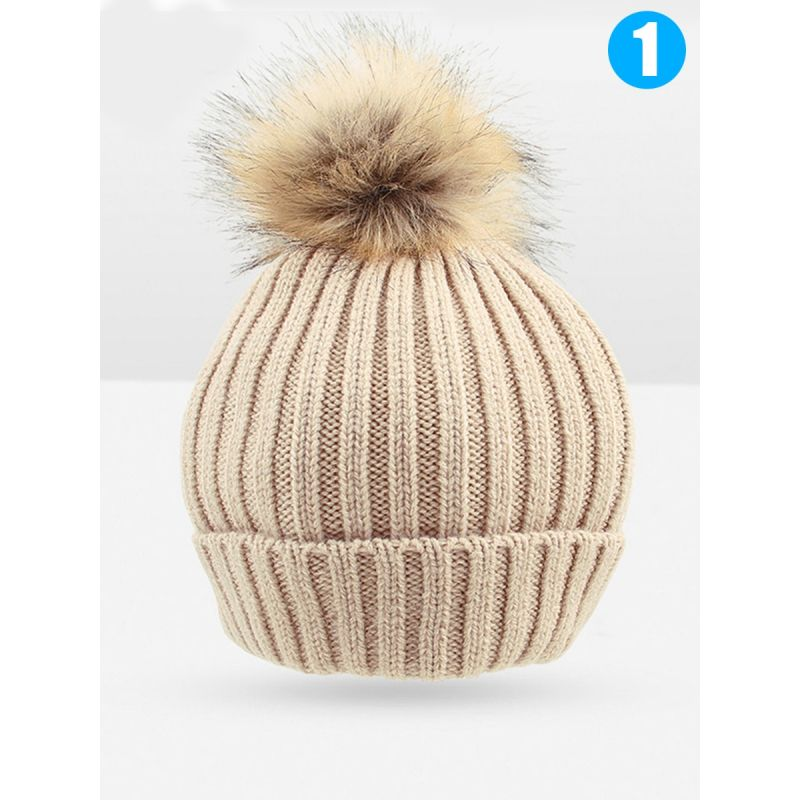 Cute Baby Boys Girls Ball Trimmed Knitted Hat for Autumn Winter