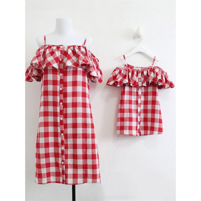 Mommy and Me Red and White Checked Off-shoulder Summer Dress