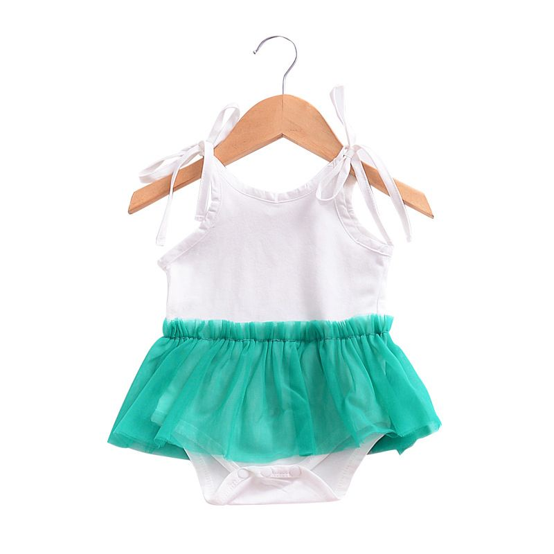 Cute Infant Girl Lace-up Tulle Romper Dress for Summer