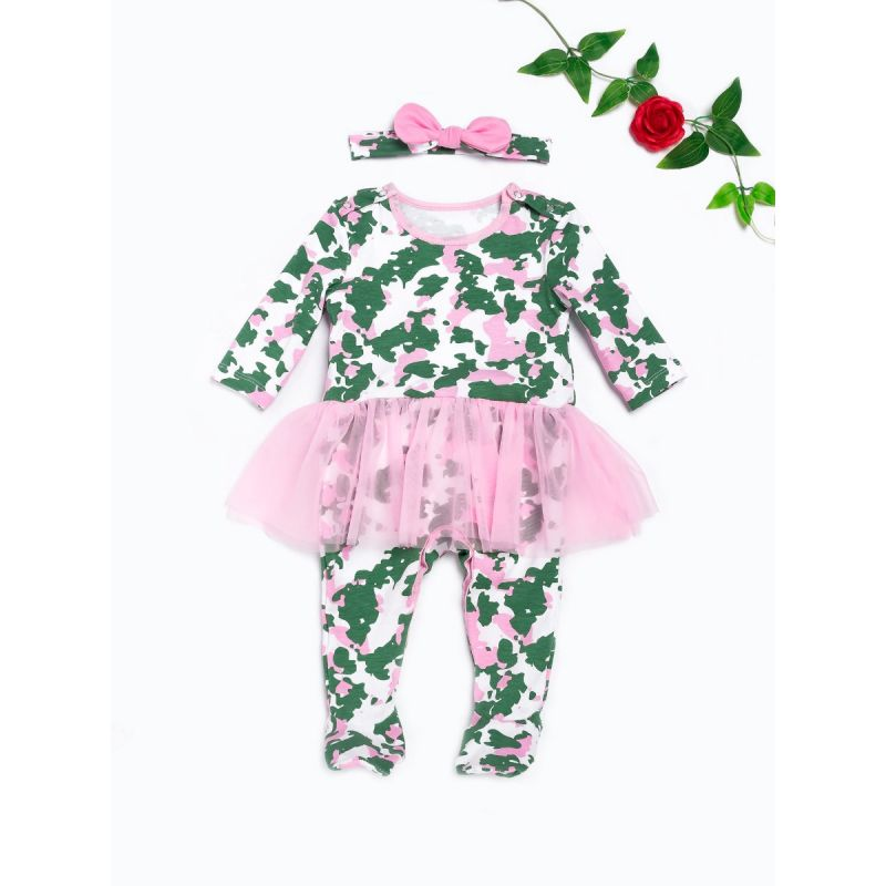 Camouflage Tulle Footed Baby Girl Romper Dress Jumpsuit with Bow Headband