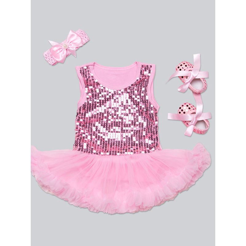 32a6d46f20e 3PCS Baby Girl Summer Romper Skirt Party Dress Set Sequins Sleeveless Tulle Romper  Dress+Prewalker