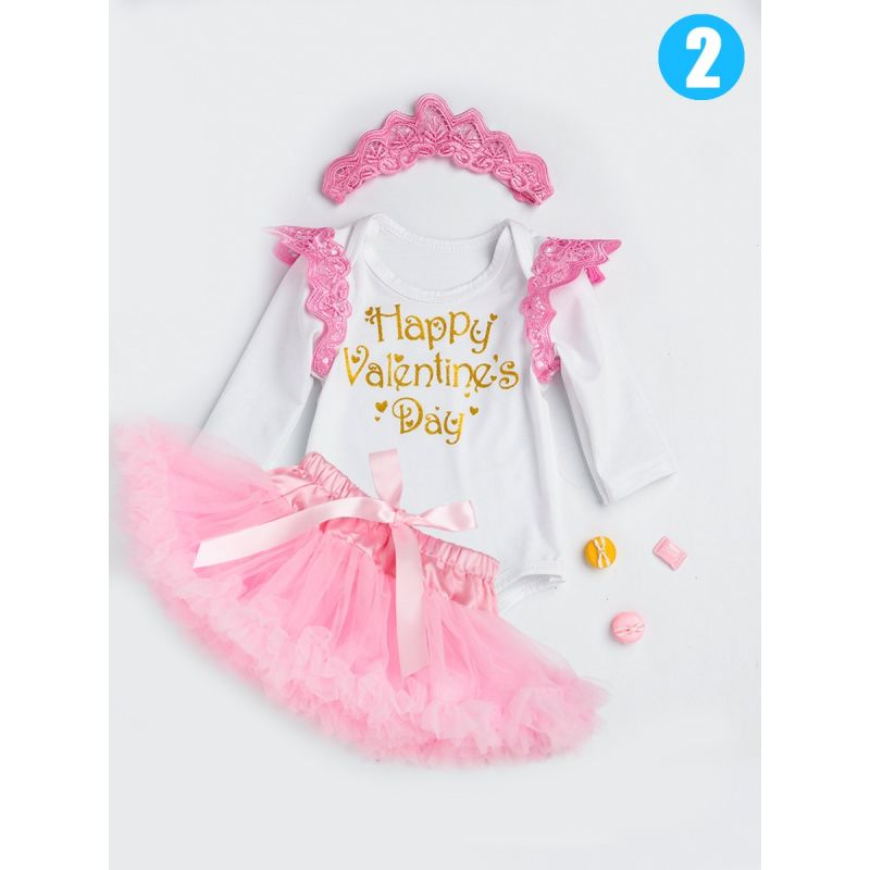 3PCS Infant Girls Party Dancing Dress Set Outfit Happy Valentine's Day Princess Letters Print Flutter Sleeve Romper+Pink Bow Pettiskirt+Pierced Headband