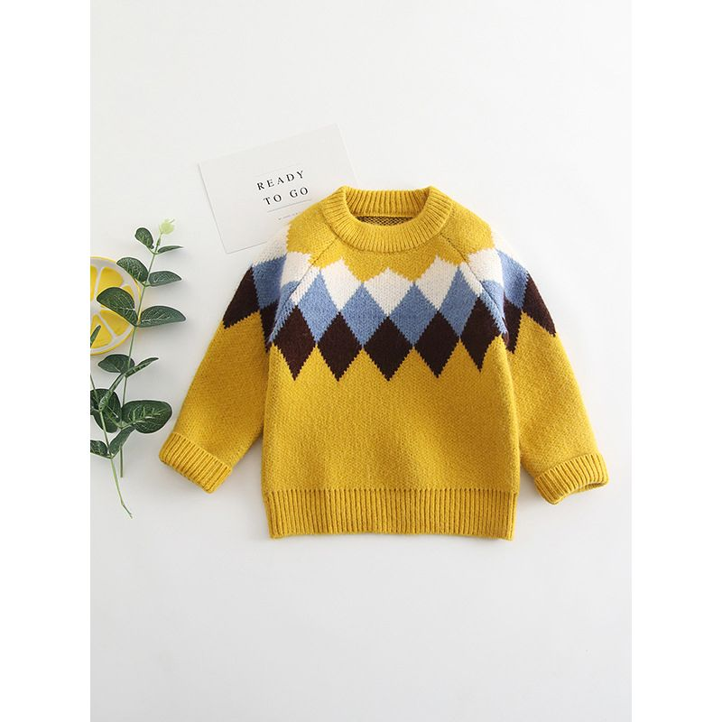 Classic Color-blocking Checked Crochet Sweater Baby Toddler Boys Knitted Sweatshirt Pullover