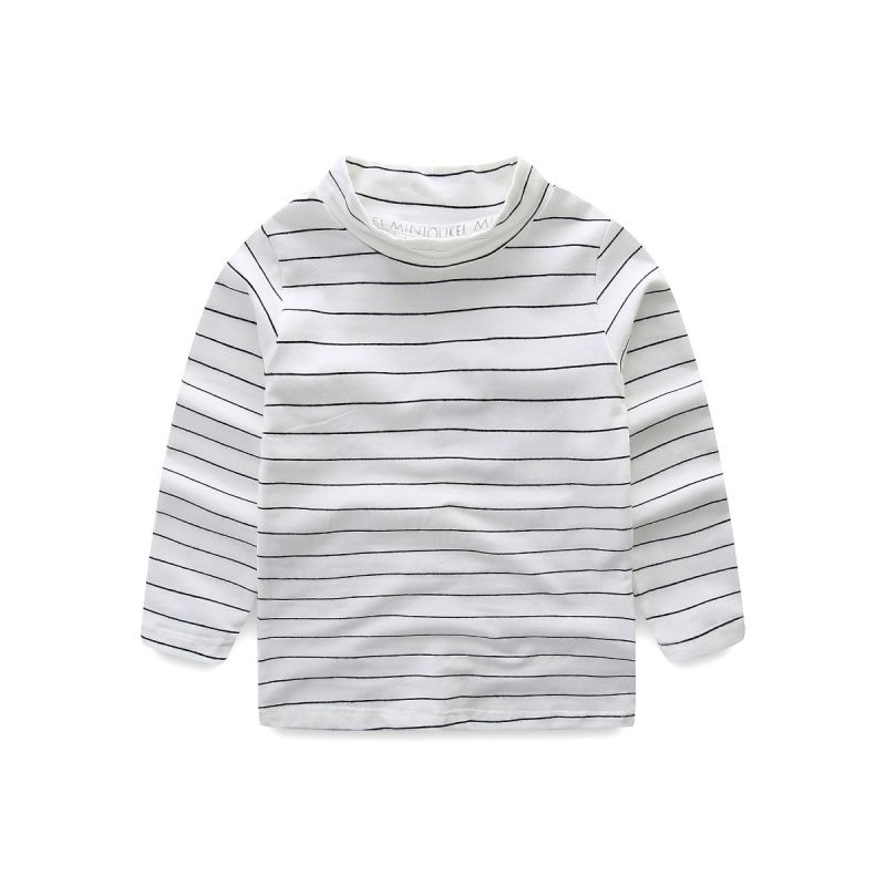 High Collar Striped Primer Shirt Pullover for Baby Toddler Boys Girls
