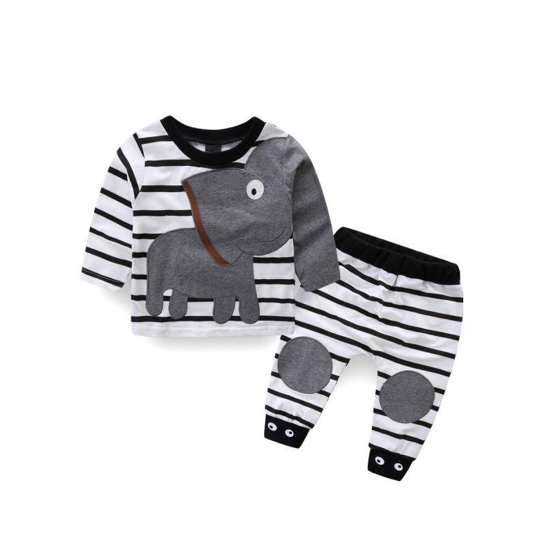 2 PCS  Baby Boys Girls Kids Homewear Set Long Sleeve Elephant Pattern T-shirt Top + Striped Long Pants Children Clothing Outfits