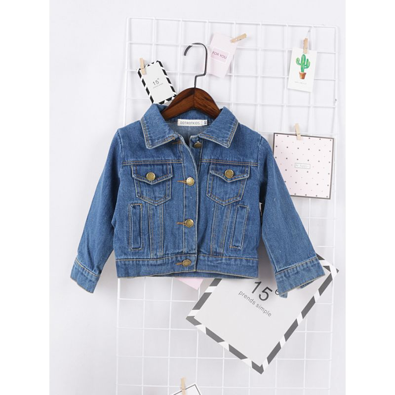 Classic Demin Jacket with Chest Pockets for Baby Toddler Girls