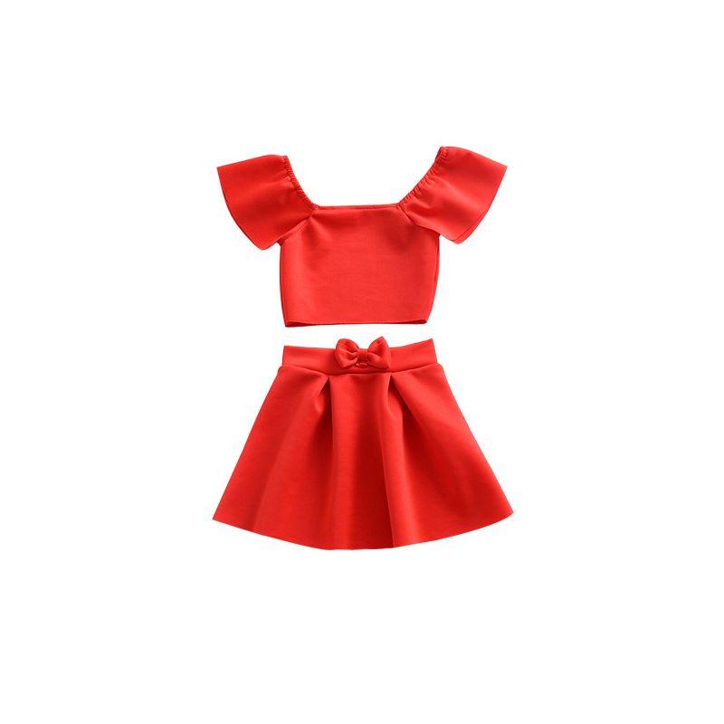 2PCS Infant Toddler Girls Summer Red Costume Set Outfit Off Shoulder Top +Bow Skirt