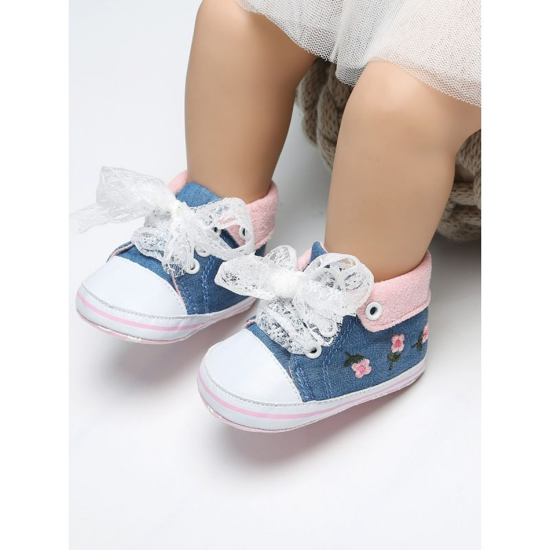 Baby Girls Flower Embroidery Lacey Lace-up High Top Princess Shoes Infant Winter Early Days Prewalker Shoes