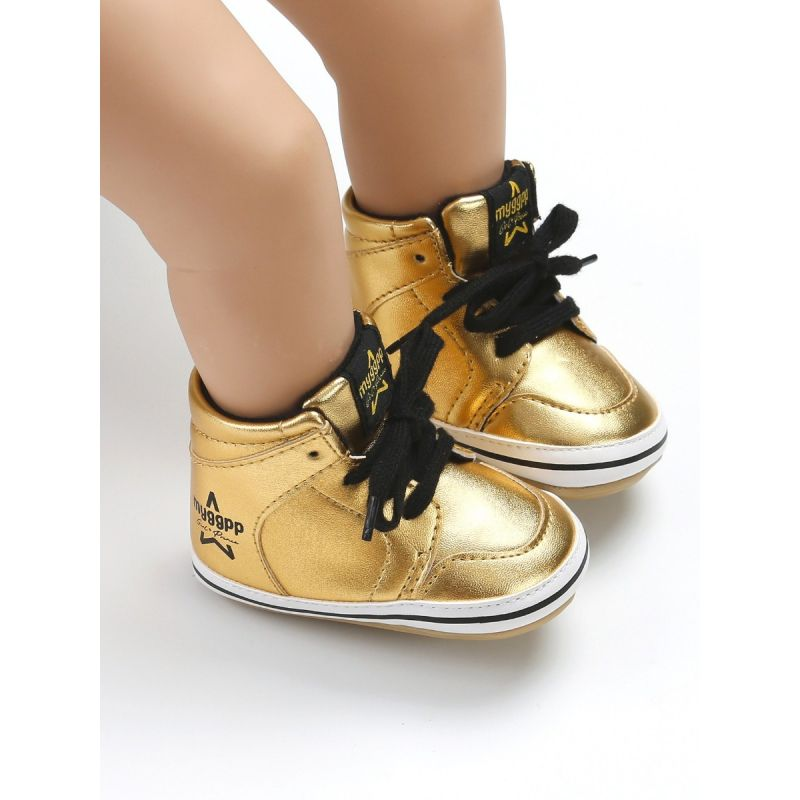 Fashion Lace-up Baby Girls Boys Ankle Rubber Soled Shoes White/Gold/Black