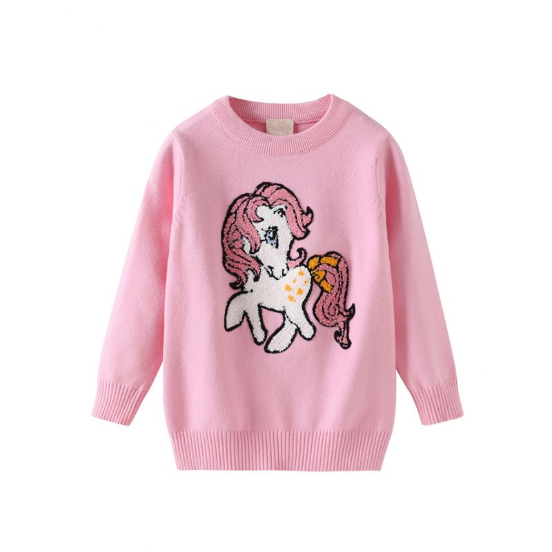 f300243bd34abf Cute Horse Pattern Toddler Big Girl Sweater Kids Casual Knitted Clothes Red  Pink