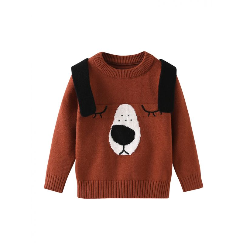 Adorable Cartoon Dog Crochet Sweater Infant Boys Girls Knitted Jumper