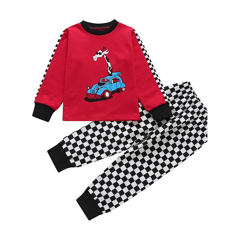 a1dfc549ce 2 PCS Baby Toddler Boys Girls Kids Casual Homewear Set Long Sleeve Giraffe  Cart Print T
