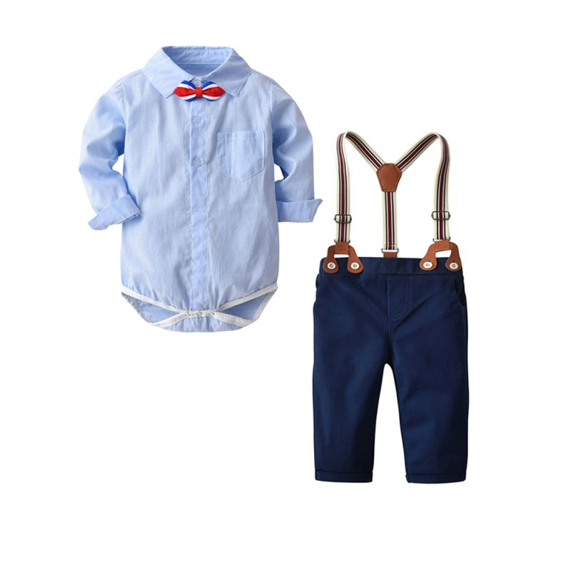 febb81694308 4PCS Baby Boys Romper Overalls Set Outfit Bowknot Striped Romper Shirt+Blue  Adjustable Shoulder Straps