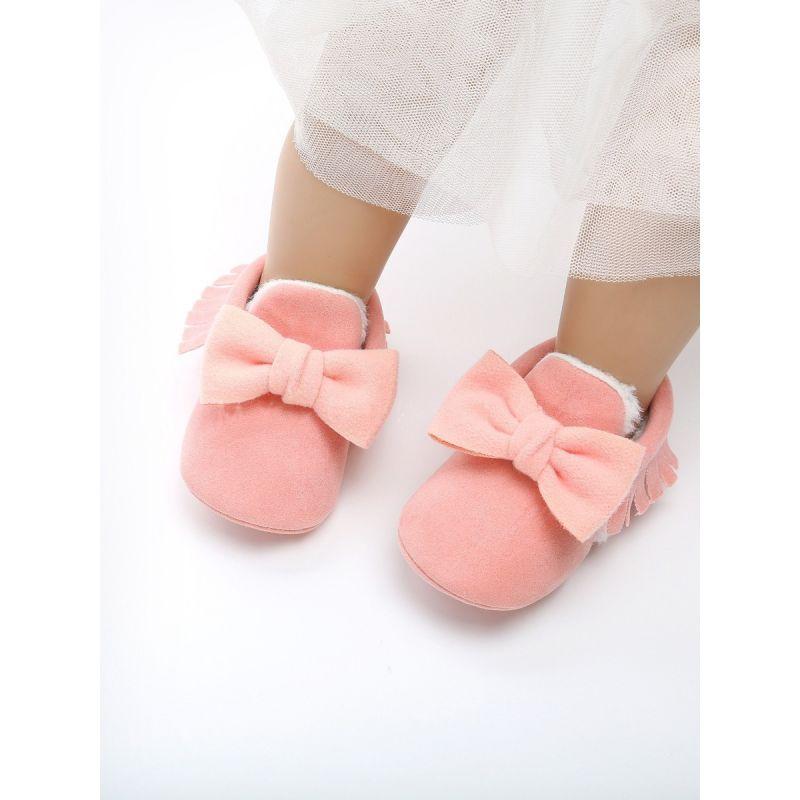 Warm Bowknot Tassel Trimmed Baby Girl Winter Pre-walker Shoes