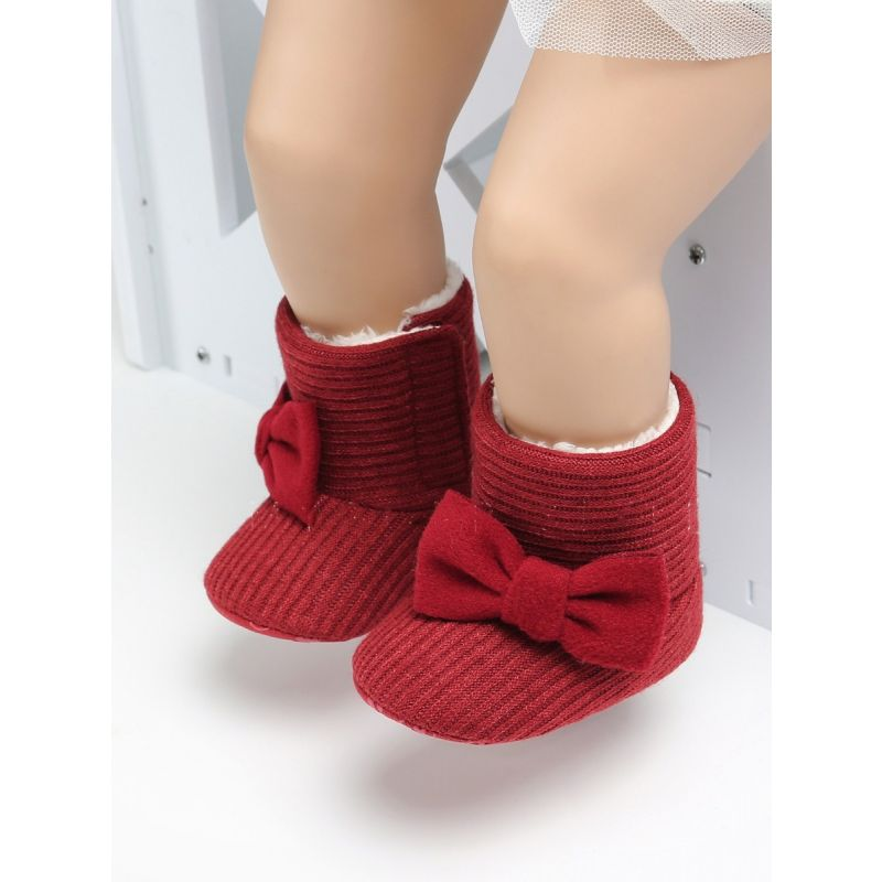 Baby Boys Girls  Bowknot Warm Winter Snow Boot Knit Crib Shoes Solid Color
