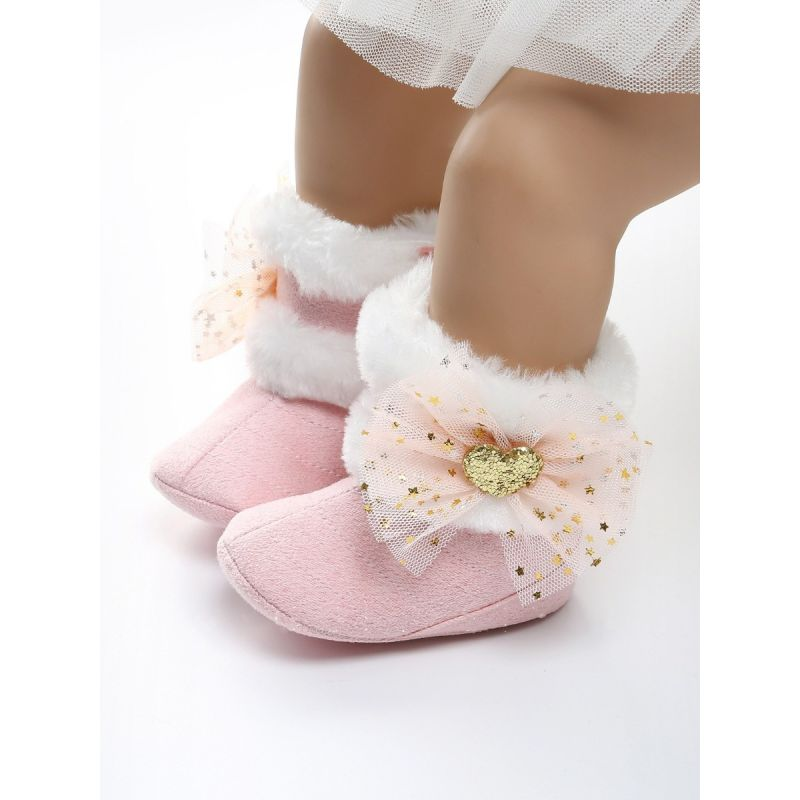 Sequin Love Heart Bowknot Trimmed Soft Fur Winter Warm Baby Girl Snow  Boots