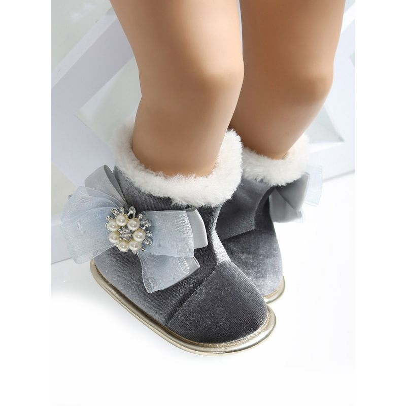 Bowknot Trimmed Soft Fur Winter Warm Infant Girl Snow  Boots Black/Pink/Grey