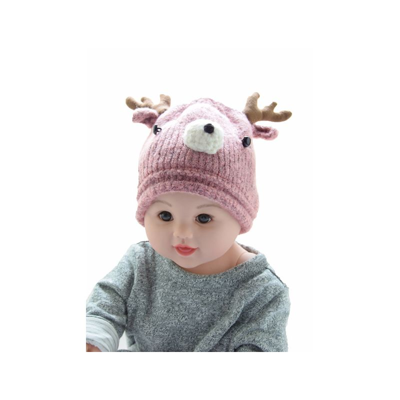 Reindeer Christmas Knitted Beanie Hat for Baby Boys Girls