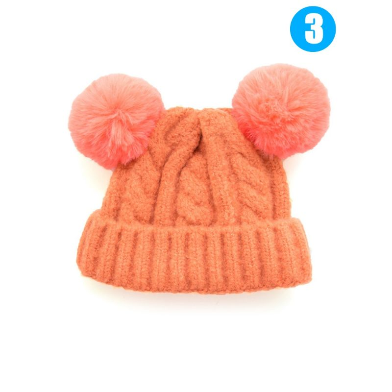Baby Boys Girls Winter Cable Knit Beanie with Double Pom
