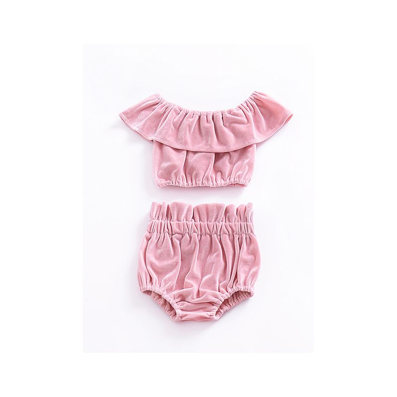 2PCS Baby Girl Summer Clothes Set Velvet Off Shoulder Ruffled Shirt Top+Short Pants Pink/Blue