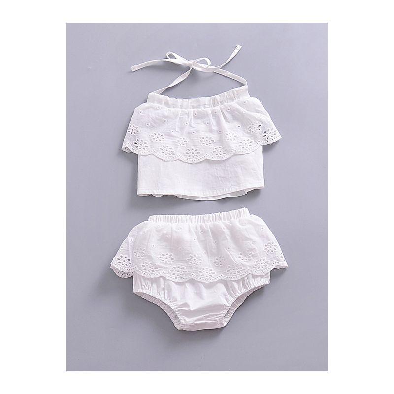 2PCS Infant Girl Summer Shirt Pants Set Lace-up Backless Top+Pierced Bread Pants