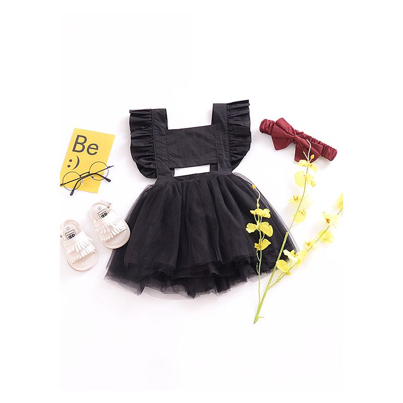 Ruffled Flutter Sleeve Tulle Princess Party Dress Pink/Black