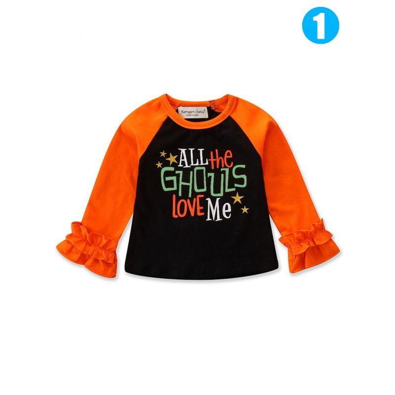 Fashion Halloween Element Trumpet Sleeve Color-blocking T-shirt Pullover