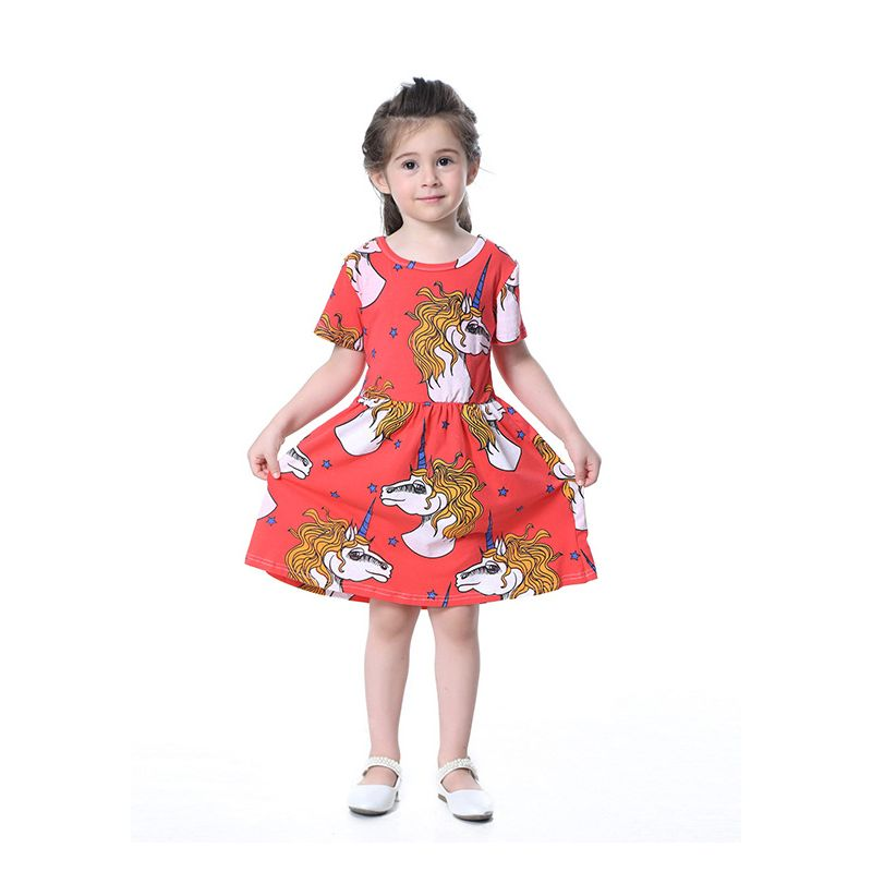 Unicorn Infant Toddler Big Girl One-Piece Summer Dress Kids Casual Dress