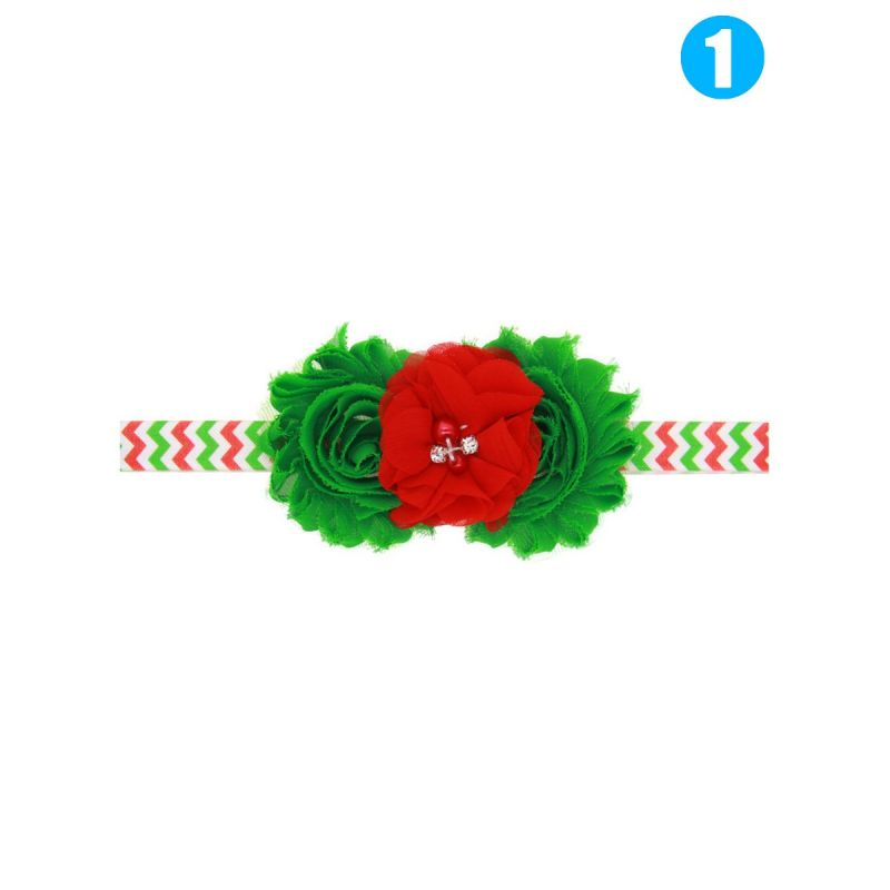 Xmas Big Flower Trimmed Headband Infant Toddler Girl Photography Props Hair Ornaments