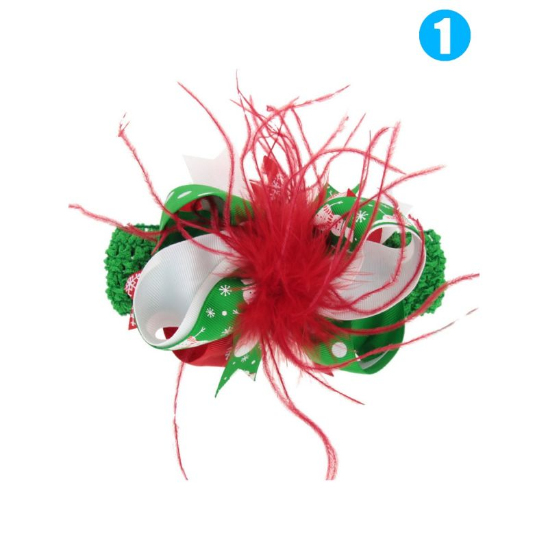 Stylish Feather Bow Trimmed Colorful Hair Clip for Toddler Big Girl Christmas Party Hair Ornaments