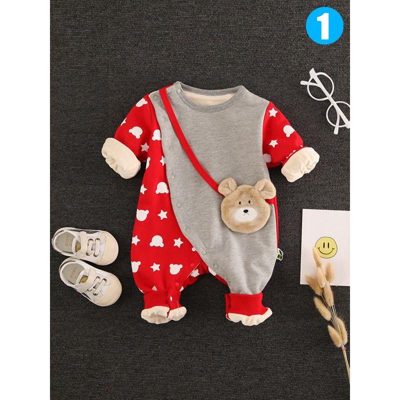 Cute Rabbit/Bear Fleece-lined Baby Romper Jumpsuit for Winter