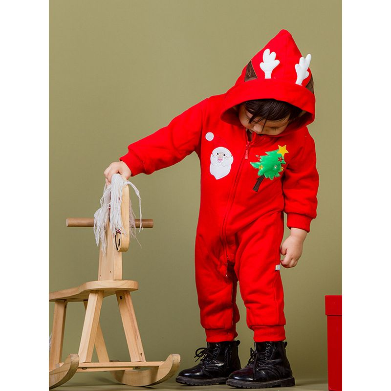 9558ce5517d38 Christmas Tree Santa Clause Reindeer Hooded Baby Girls Boys Romper Winter  Infant Jumpsuit with Zipper