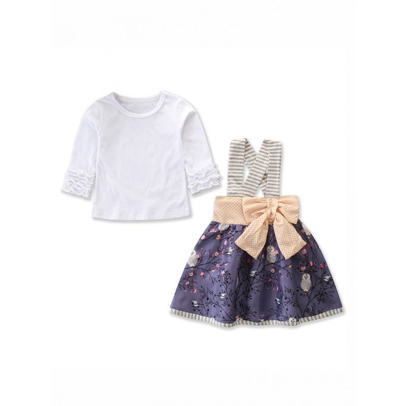 2PCS Baby Toddler Girl Clothes Set Outfit  White T-shirt Long Sleeve+Floral /Owl Pinafore Dress