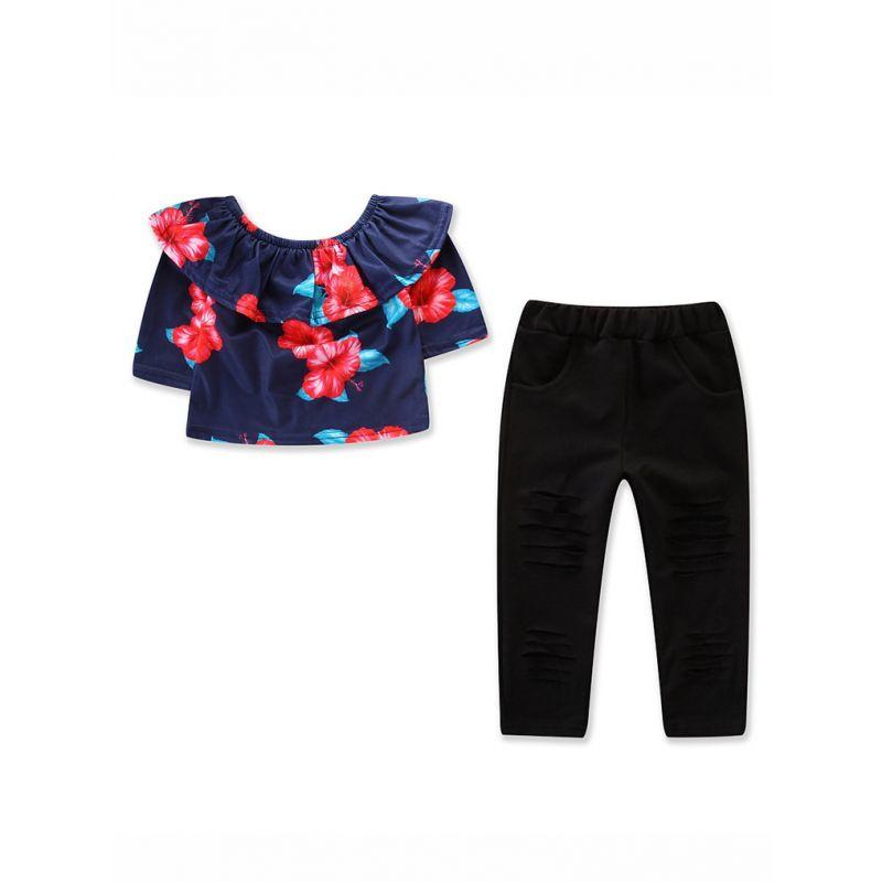 fc70a48166c7 2PCS Toddler Big Girls Kids T-shirt Pants Clothing Set Off Shoulder Floral T -