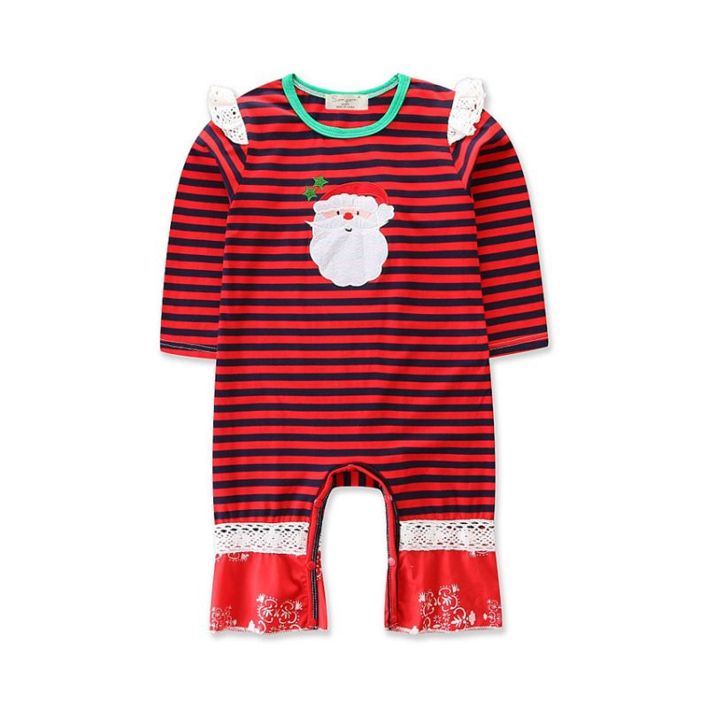 Santa Clause Striped Lace Trimmed Infant Christmas Romper Jumpsuit