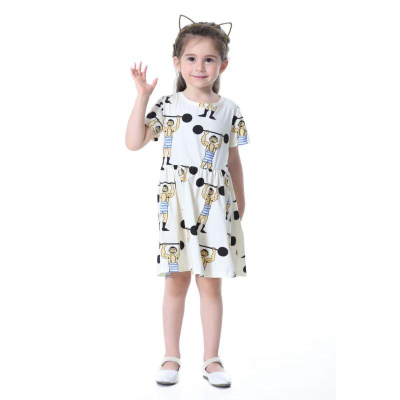Cartoon Weightlifter Print Toddler Big Girl Summer One-Piece Dress