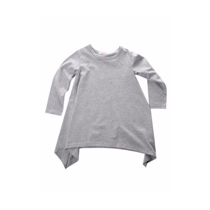 Baby Toddler Girl Asymmetrical Hemline Dress Long Sleeve Gray/Black