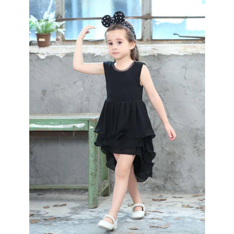 Princess Sleeveless Black Summer Asymmetrical Hemline Frock