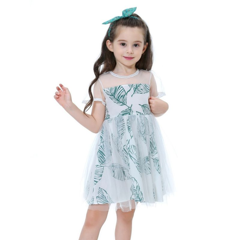 Leaf Print Tulle Summer Dress Toldder Big Girl Princess One-Piece Dress