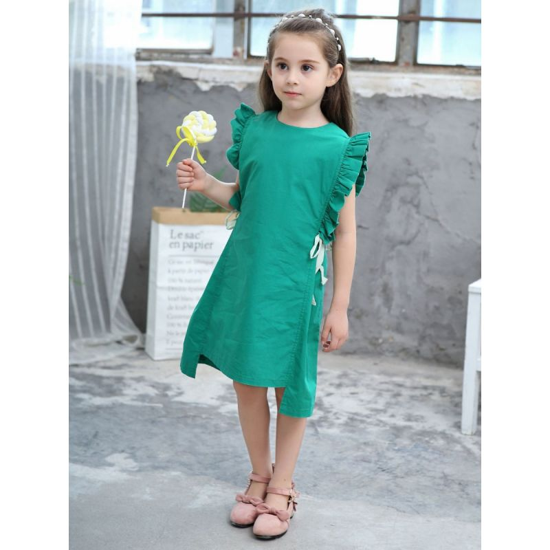 Stylish Kids Girl Ruffled Summer Casual Dress Green
