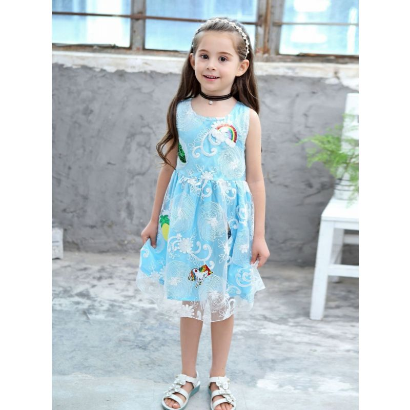 Fashion Sequin Rainbow Bow Unicorn Fit & Flare Kids Dress Princess Lace Summer Dress Sleeveless