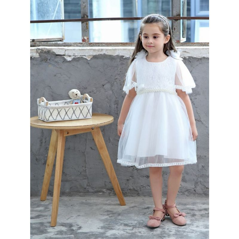 Trendy Spanish Style Kids Tulle Dress  Floral Pearl Trimmed Baptism Dress White/Pink