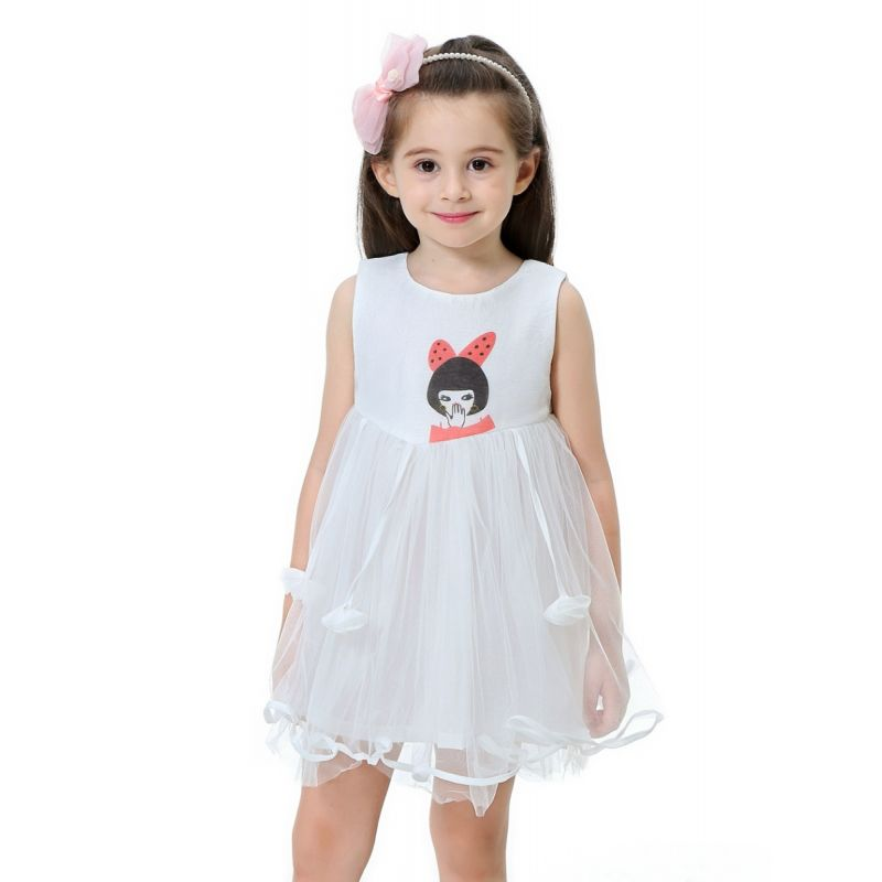 Cartoon Toddler Big Kids Tulle Dress Sleeveless Princess Dress for Summer
