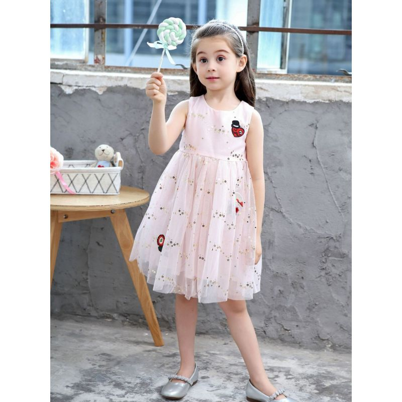 Love Heart Flower Embroidery Sequin Sleeveless Tulle Princess Dress White/Pink