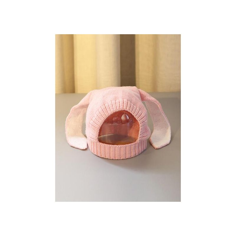 Adorable Bunny Ear Slouchy Baby Knitted Hat for Autumn Winter Outdoor Earflap Pink/Grey/Black