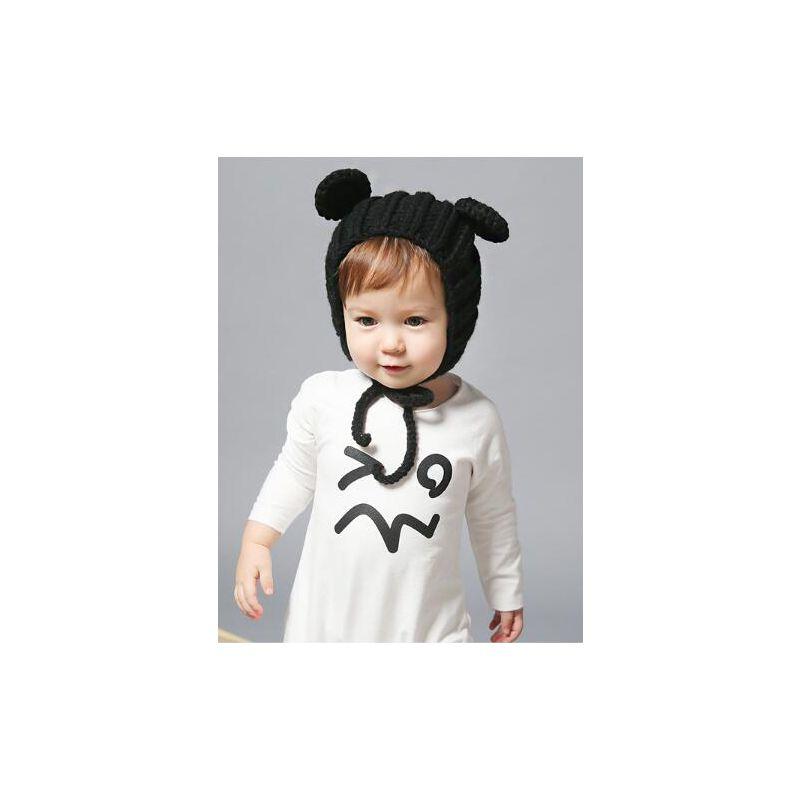Cute Bear Ear Pattern Knitted Baby Earflap Hat