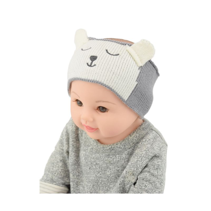 c97e54b2 Cute Cartoon Bear Infant Boys Girls Knitted Headband Earflap